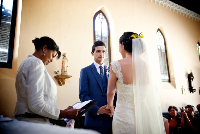 Beautiful wedding ceremony in a chapel