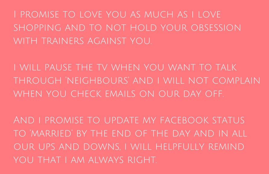 How to write funny wedding vows engaged and ready facebook vow extract1 junglespirit Choice Image