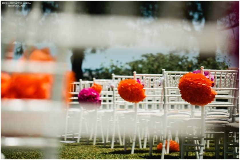 Wedding chairs with pompoms