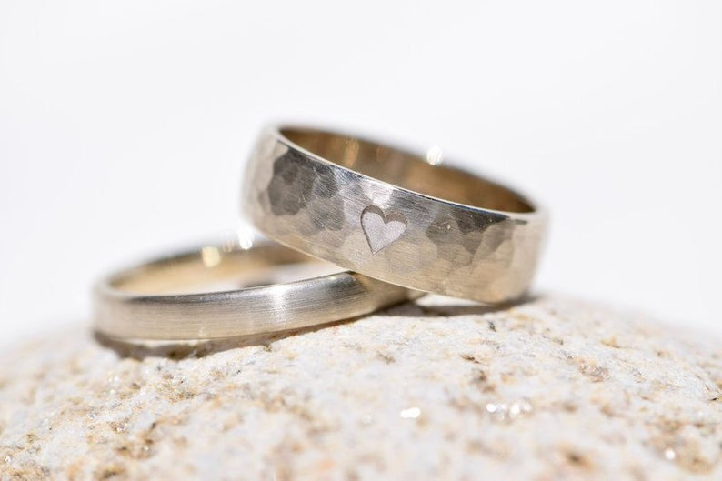 handmade wedding ring with heart design