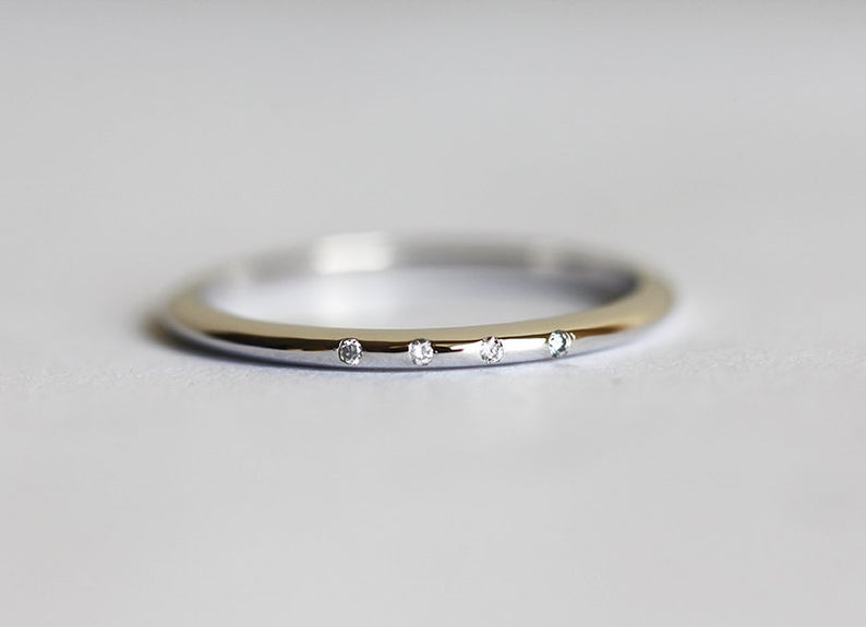 Ultra thin diamond wedding ring