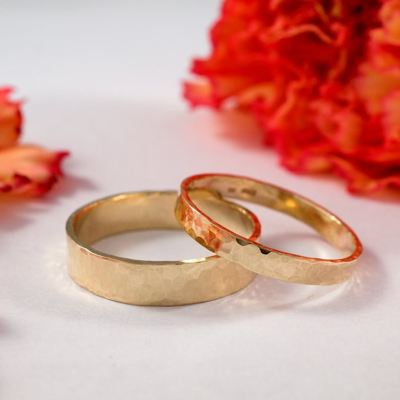 yellow gold hammered wedding bands