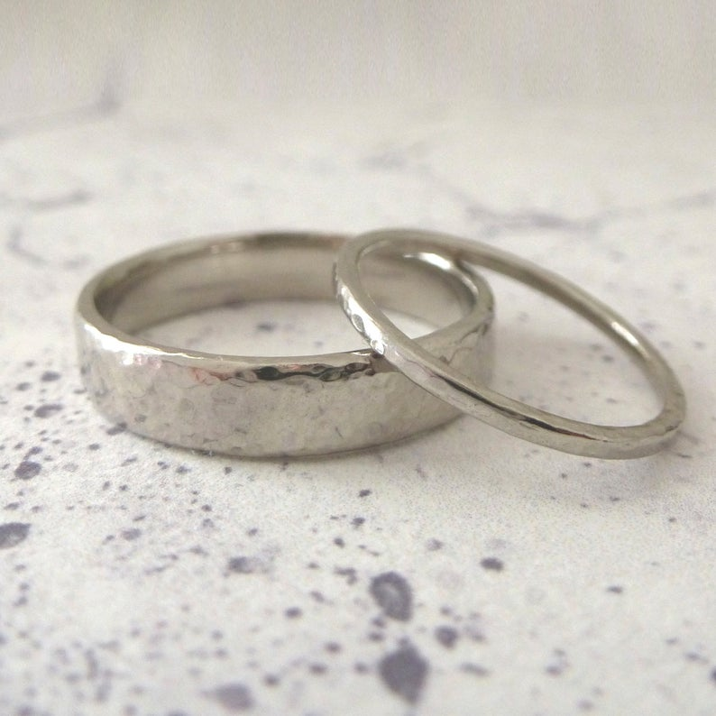 Handmade hammered wedding rings