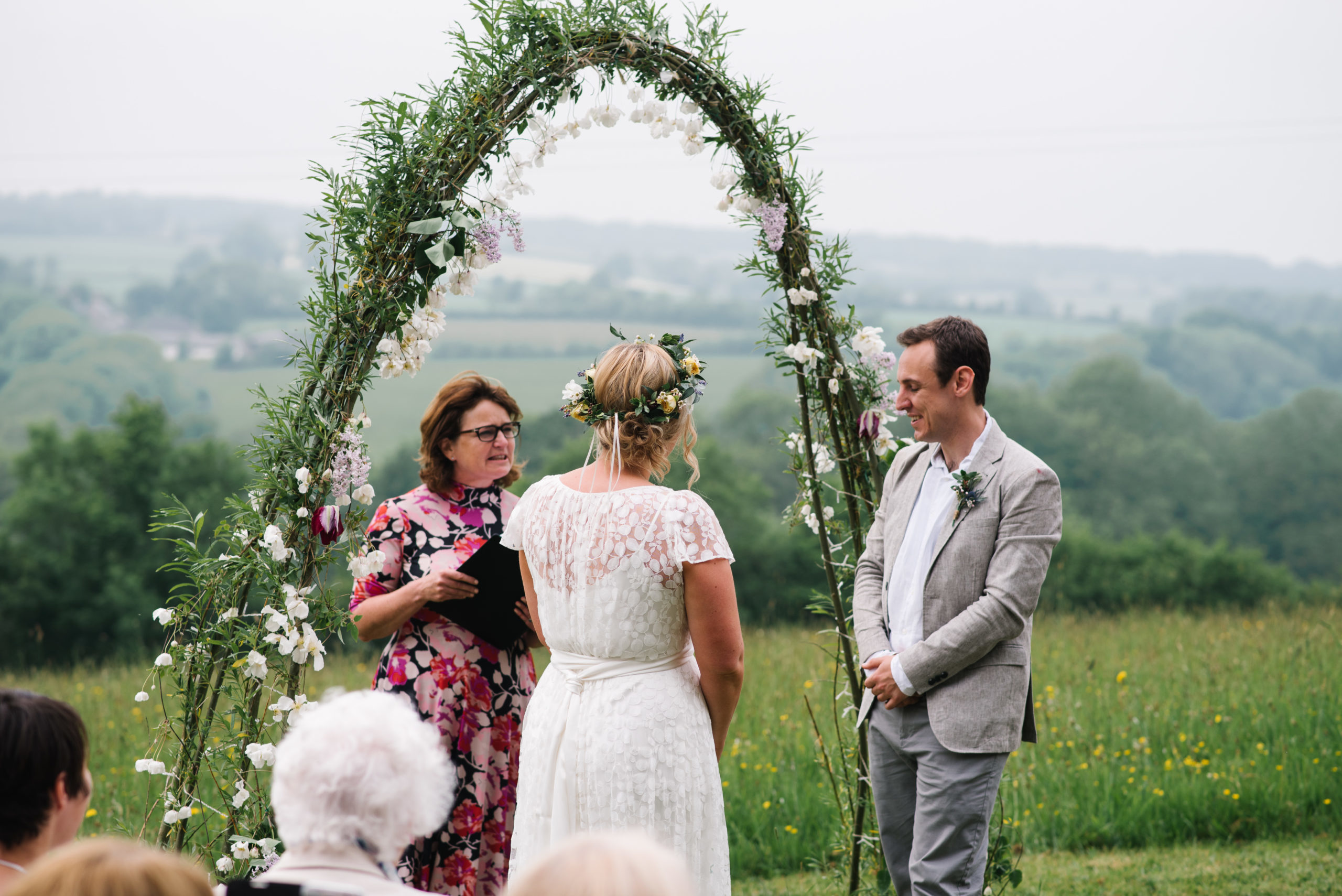 Wedding celebrant leading ceremony in Devon