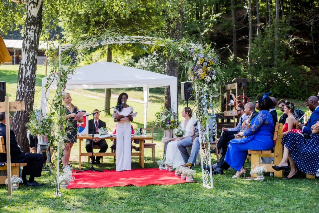 Nova conducting a wedding ceremony